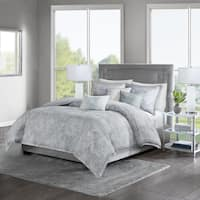 Madison Park Nowell Grey Cotton Sateen 6-piece Duvet Set in size King - Cal King (As Is Item)