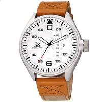 Joshua & Sons Men's Pilot Style Date Tan Canvas Leather Strap Watch