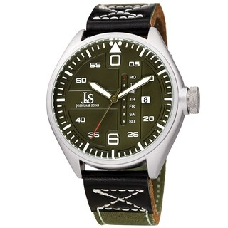 Joshua & Sons Men's Pilot Style Date Green Canvas Leather Strap Watch
