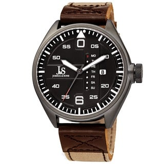 Joshua & Sons Men's Pilot Style Date Brown Canvas Leather Strap Watch