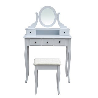 ALEKO Bedroom Vanity Dressing Table Set with Mirror and Stool White