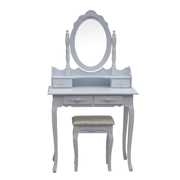 ALEKO Bedroom Vanity Dressing Table Set with Mirror and Stool White 36944020