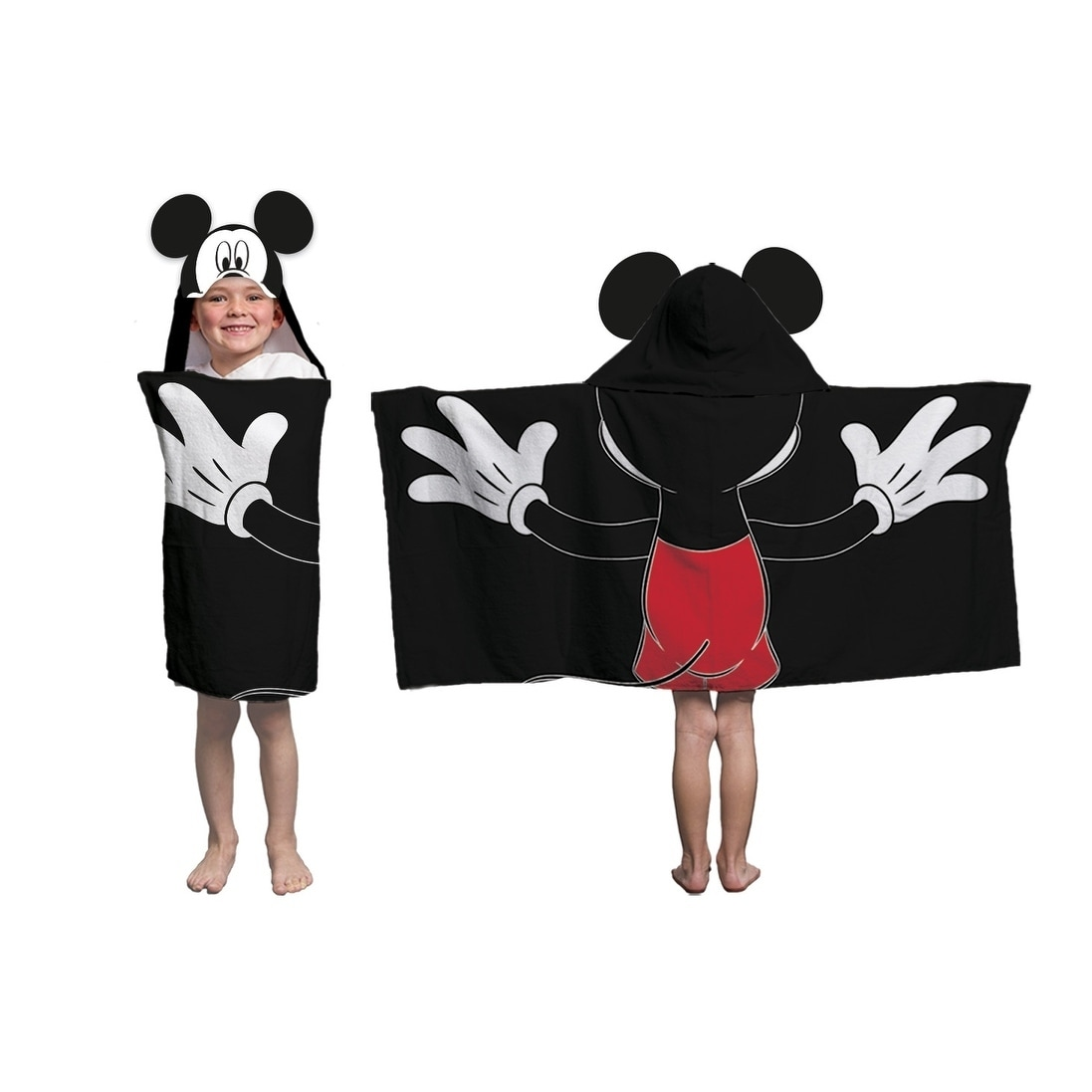 """Disney Mickey Mouse Hooded Towel 100/% Cotton 23/"""" X 51/"""" Age 3 /& UP  ~NEW~"""