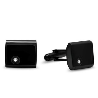 Steeltime Men's Black Ion-Plated Rectangular Cufflinks with Cubic Zirconia