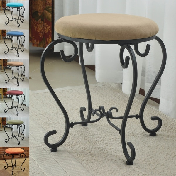International Caravan Small Iron Stool with Microsuede Cushion