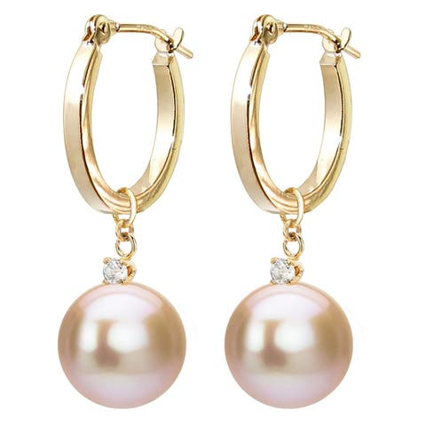 DaVonna 14k Gold 1/10cttw Diamond Pink Freshwater Cultured Pearl Dangle Earrings