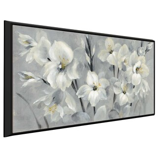 """""""Flowers on Gray"""" by Silvia Vassileva Print on Canvas in Floating Frame"""