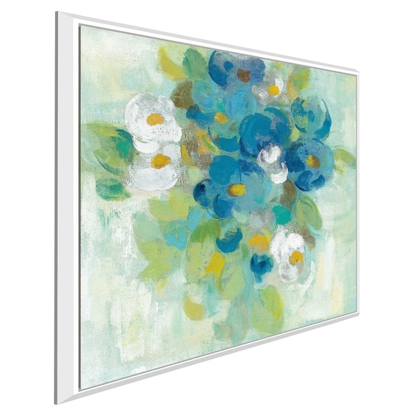 """Spring Aroma II White Flowers"" by Silvia Vassileva Print on Canvas in Floating Frame"