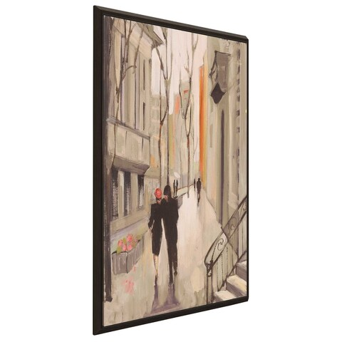 """""""Village Promenade Neutral"""" by Julia Purinton Print on Canvas in Floating Frame"""
