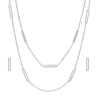 Piatella Ladies Stainless Steel Hollow Cut Earring and Double Chain Necklace Set in 2 Colors (2 options available)