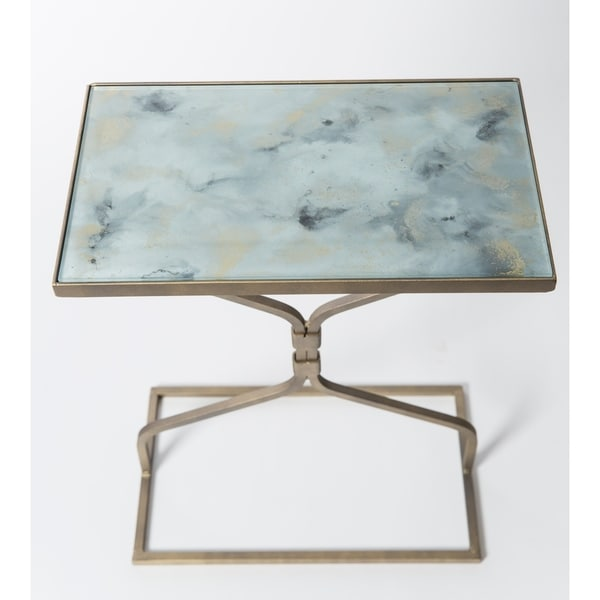 Handmade Antique Gold Glass Top Hourglass Accent Table (Mexico)