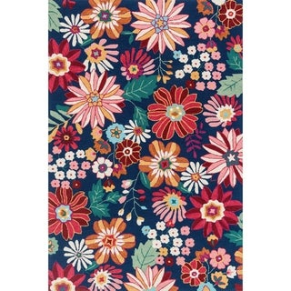 "Hand-hooked Floral Navy/ Red Multi Transitional Rug - 3'6"" x 5'6"""