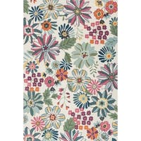 Hand-hooked Floral Ivory/ Green Multi Transitional Rug - 3'6 x 5'6'