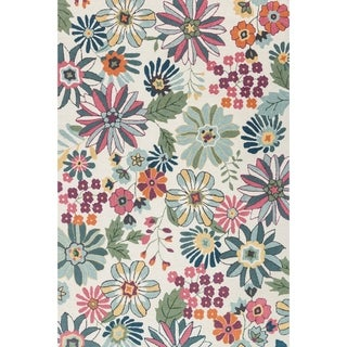 "Hand-hooked Floral Ivory/ Green Multi Transitional Rug - 2'3"" x 3'9"""
