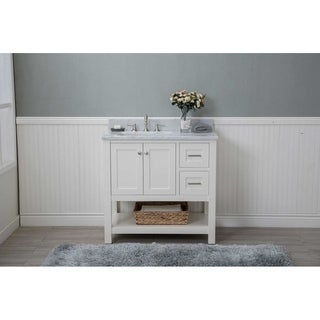 "Cabinet Mania White Shaker 36"" Bathroom Vanity Open Shelf w/ Marble Top"