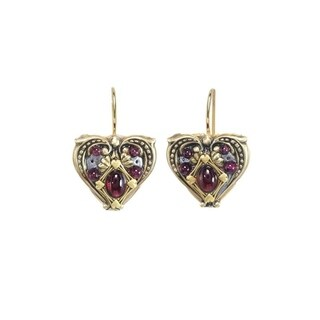 Handmade Garnet Heart Earrings (USA) by Michal Golan
