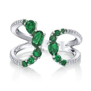 SERAFINA Simulated Emerald Sapphire Sterling Silver Ring