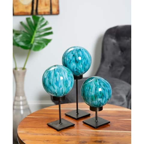 Handmade Glass Sphere on Stand, Set of 3 (Mexico)