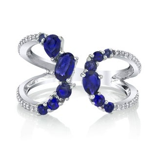 SERAFINA Simulated Blue Sapphire Sterling Silver Ring