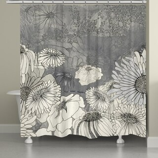 Laural Home Grey Florals Shower Curtain