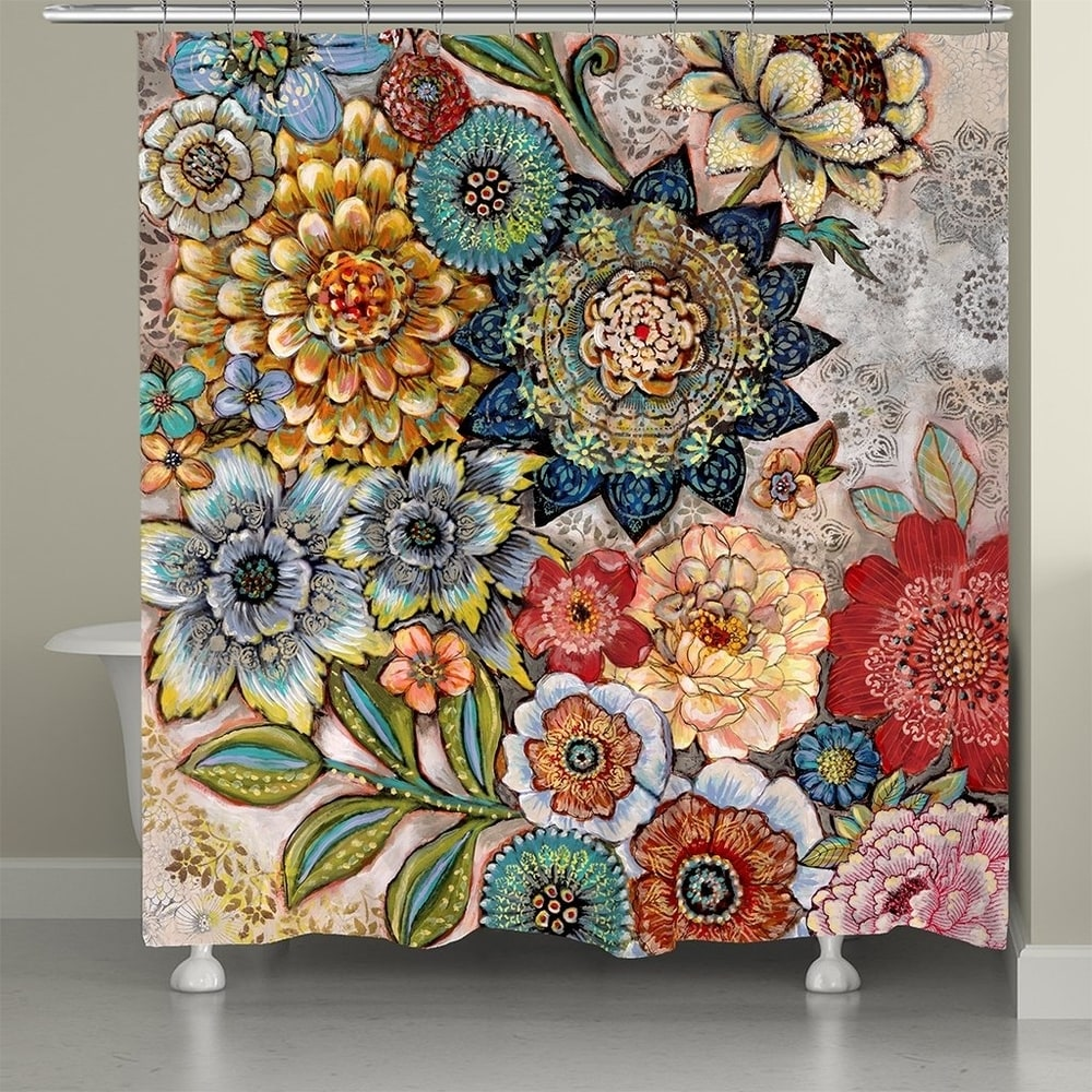 Gray Lime Green Better Home and Gardens GLOBAL TAPESTRY Shower Curtain ~ Blue