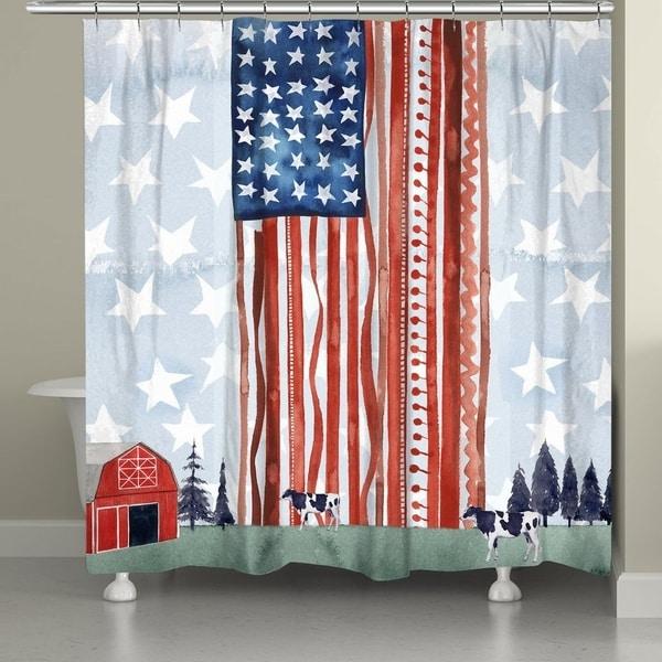 Shop Laural Home Americana Farm Shower Curtain