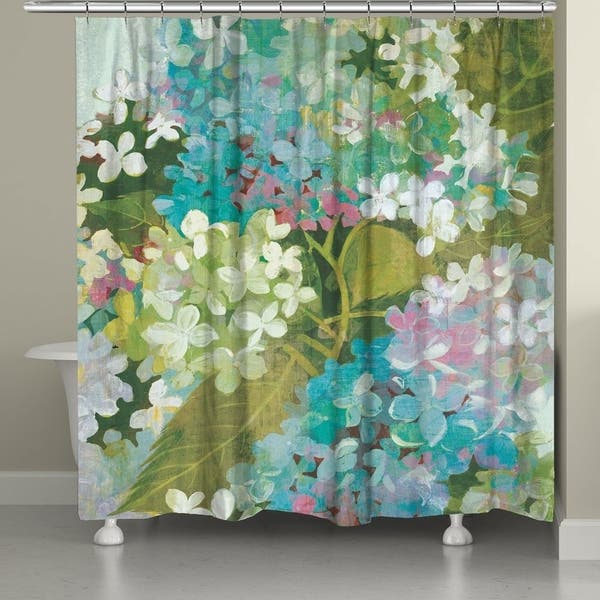 Hydrangeas Shower Curtain Green
