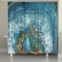 Laural Home Golden Blue Mineral Shower Curtain