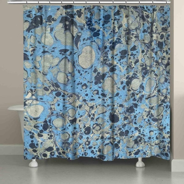Shop Laural Home Blue And Silver Marble Shower Curtain