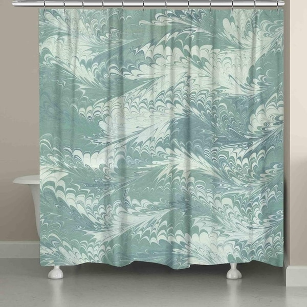 Laural Home Pastel Pale Blue Marble Shower Curtain