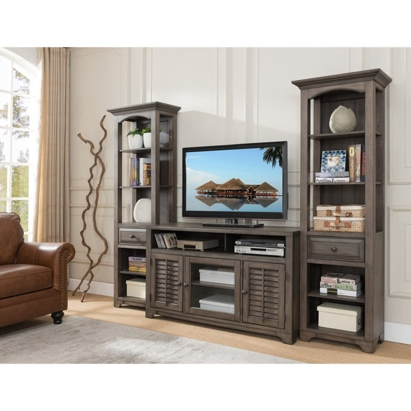 Shop Distressed Grey Wood Entertainment Center Complete