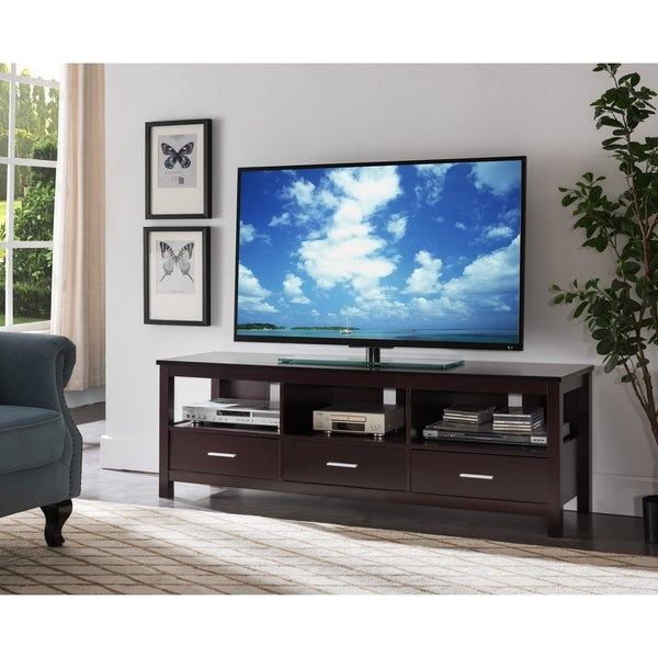 K B Furniture Espresso Wood Entertainment Center Free Shipping Today 22176716
