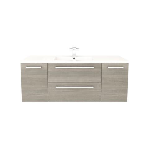"""Silhouette Collection 48"""" Wall Mount Bathroom Vanity - 2 Doors, 2 Drawers With Top, Aria"""