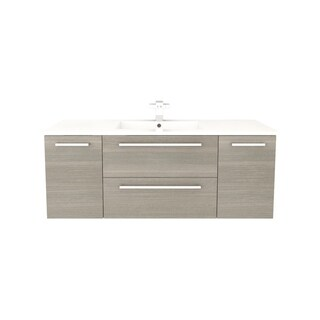 Cutler Kitchen & Bath Silhouette Collection Aria Wood Finish Wall Mount Bathroom Vanity with 2 Doors, 2 Drawers and Marble Top,