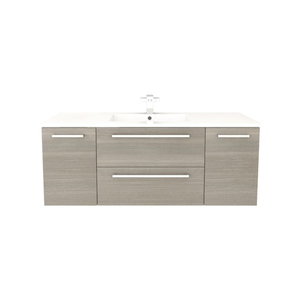 Cutler Kitchen Bath Silhouette Collection Aria Wood Finish Wall Mount Bathroom Vanity With 2
