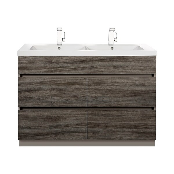 """Boardwalk Collection 48"""" Handless Bathroom Vanity - 4 Drawer With Double Bowl Top, Southwester"""