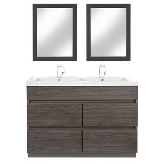 """Boardwalk Collection 48"""" Handless Bathroom Vanity - 4 Drawer With Double Bowl Top, Karoo Ash"""