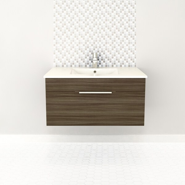 """Textures Collection 36"""" Wall Mount Bathroom Vanity - 1 Drawer With Top, Driftwood"""