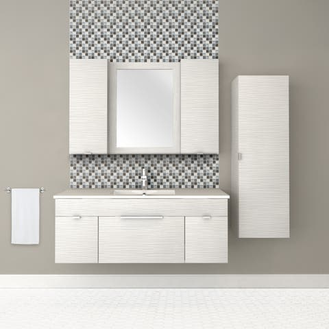 "Textures Collection 48"" Wall Mount Bathroom Vanity - 2 Doors, 1 Drawer With Top, Contour White"