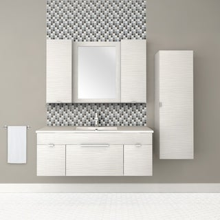 """Textures Collection 48"""" Wall Mount Bathroom Vanity - 2 Doors, 1 Drawer With Top, Contour White"""