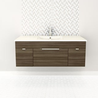 "Textures Collection 48"" Wall Mount Bathroom Vanity - 2 Doors, 1 Drawer With Top, Driftwood"