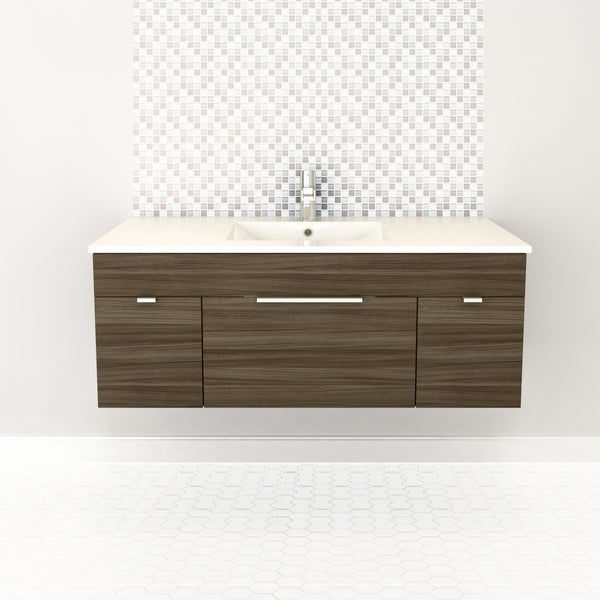 "Textures Collection 48"" Wall Mount Bathroom Vanity - 2 Doors, 1 Drawer With Top, Driftwood"
