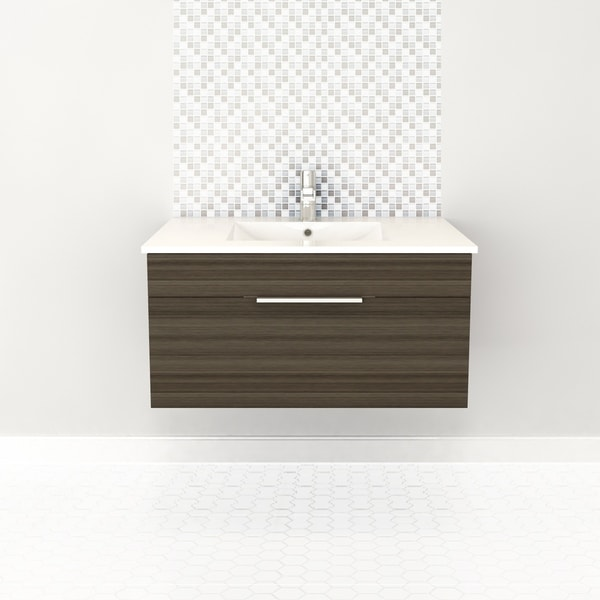 """Textures Collection 36"""" Wall Mount Bathroom Vanity - 1 Drawer With Top, Spring Blossom"""