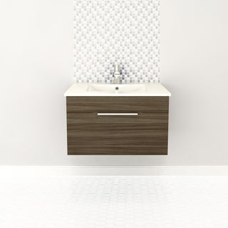 """Textures Collection 30"""" Wall Mount Bathroom Vanity - 1 Drawer With Top, Driftwood"""