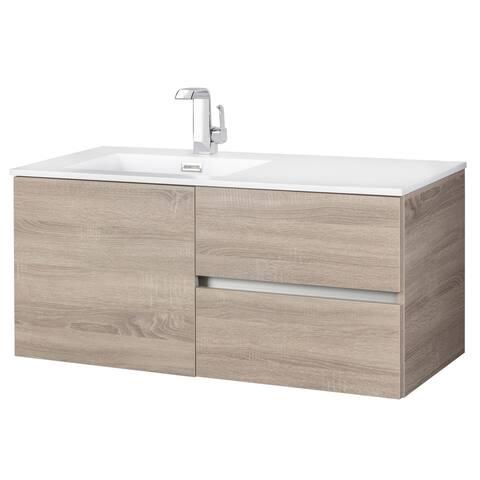 """Beachwood Collection 42"""" Wall Mount Modern Bathroom Vanity - Dorato"""
