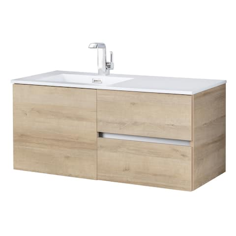 "Beachwood Collection 42"" Wall Mount Modern Bathroom Vanity - Organic"