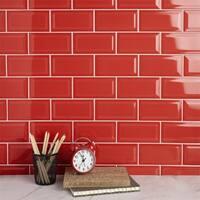 SomerTile 3x6-inch Malda Subway Beveled Apple Red Ceramic Wall Tile (136 tiles/19.18 sqft.)