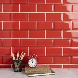 SomerTile 3x6-inch Malda Subway Beveled Apple Red Ceramic Wall Tile (136 tiles/17 sqft.)