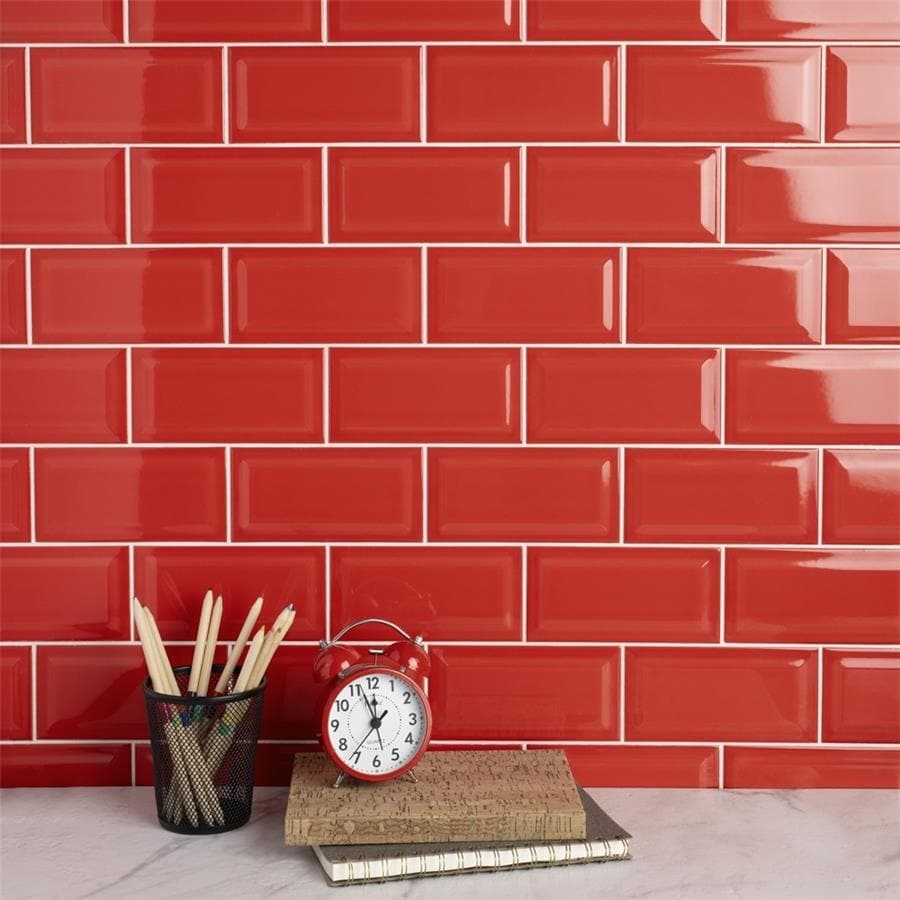 Somertile 3x6 Inch Malda Subway Beveled Le Red Ceramic Wall Tile 136 Tiles 19 18 Sqft