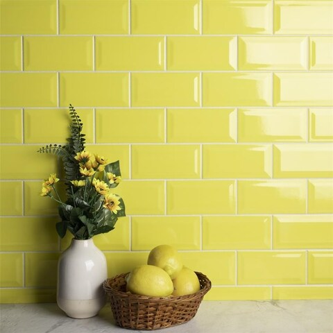 SomerTile 3x6-inch Malda Subway Beveled Canary Yellow Ceramic Wall Tile (136 tiles/17 sqft.)